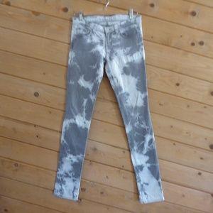 J Brand Gray Tie Dye Jeans Cult Low Rise Pencil 25
